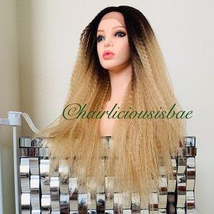 Ash golden blonde wig ombré 26 inch long thick